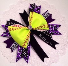 Shop for softball on Etsy, the place to express your creativity through the buying and selling of handmade and vintage goods. Softball Headbands, Softball Bows, Hair Bow Tutorial, Hairbows, Hobbies, Layers, Anna, Hair Accessories, Baseball