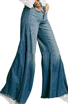1cc726437abb Joe Wenko JWK Womens Vintage Denim Pants Baggy Fit High Waist Wide Leg Denim  Pants Jeans