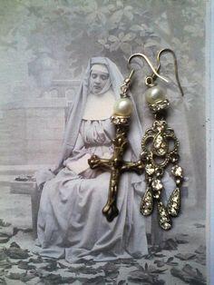 Assemblage earrings Holy medal earrings Religious assemblage Statement Earrings, Drop Earrings, Gothic Jewellery, Catholic Jewelry, Unusual Jewelry, Chandelier Earrings, Ireland, Vintage Jewelry, Romantic
