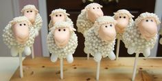 Sheep Cake Pops from Layered in Cake Boutique. Made for an adorable baby shower centerpiece. Farm Cookies, Cupcake Cookies, Cake Pops, Cake Candy, Sheep Cake, Barnyard Party, Bite Size Desserts, Beautiful Cupcakes, Marshmallow Pops