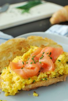 Creamy Scrambled Egg and Smoked Salmon Croissants
