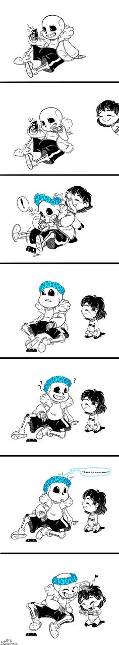 Aww cute comic art of Sans and Frisk
