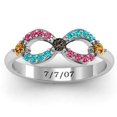 Dazzling Infinity Ring with Accents #jewlr   boys' birthstone and the infinity sign is jake and i's wedding colors :) w