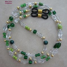 Green and Gold Beaded Eyeglass Chain Holder by missvalscreations
