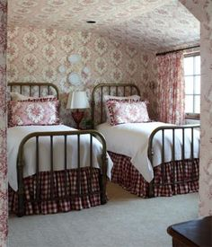 adorable cottage guest room - love the beds and mix of patterns!