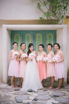Ombre Pink Bridesmaid Dresses | Dress by Lee | Gourmet Makeup | Encore by Watters | Julius & James https://www.theknot.com/marketplace/julius-and-james-hamilton-on-877872