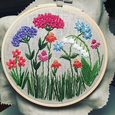 "Wildflowers. 5"" hoop inspired by my visit to the Botanical Gardens. Enjoyed sewing with some brighter threads."