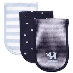 """Carter's 3 Pack Baby Burp Cloths """"mommy loves me"""", Boy (Elephants, stripes)  these are the best ones, cheapest at target"""