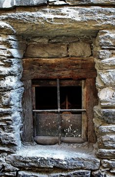 Stone wall Wooden window – window window wall - All About Balcony Wooden Windows, Old Windows, Windows And Doors, Window Dressings, Window View, Through The Window, Old Doors, Stone Houses, Window Boxes