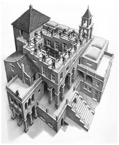 Escher's rendering of the Penrose steps, a never-ending staircase that cannot exist in three dimensions. (Ascending and Descending - M. C. Escher)