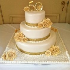 "50th Anniversary, White with Gold Floral and Ribbon, White or Chocolate, Square or Round, 6"", 8"", or 10"