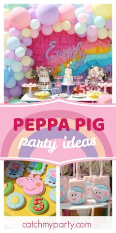 's Birthday / Peppa pig - I do not *snort Peppa pig at Catch My Party Prom Balloons, Party City Balloons, Bridal Shower Balloons, Graduation Balloons, Girls Birthday Party Themes, Pig Birthday, Animal Birthday, Birthday Parties, Mothers Day Balloons