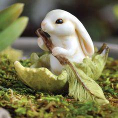 Miniature-Dollhouse-FAIRY-GARDEN-Bunny-Leaf-Boat-NEW