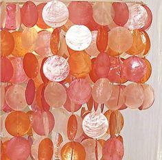 """Pottery Barn Teen CAPIZ Chandelier ~ Pink/Orange ~ 16"""" inches diameter #PotteryBarnTeen #Nautical"""