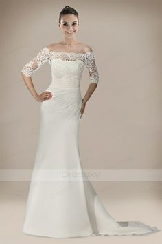 Outstanding Column Wedding Dress in Refined Ruche Detail#Christmas