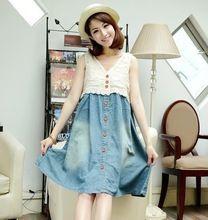 Большой размер кружева по беременности и родам джинсовая безрукавка летнее платье для беременных одежда для беременных(China (Mainland))