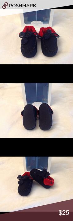 Ralph Lauren Infant Boys Moccasin Slippers - Sz 3 BRAND NEW with box!! This Ralph Lauren slipper is so HOT! It has a soft material but a hard bottom. The two tone look gives them a style of importance. If you are a true Ralph Lauren fan then you know he doesn't half step with their product line. They fit little feet comfortably. They are slip-one but also have laces with the ball on them to give it a stylish look! Ralph Lauren Other