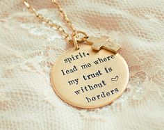 Spirit Lead Me Where My Trust Is Without Borders Necklace With Cross Charm