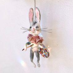 The artist spun cotton Easter bunny rabbit ornament OOAK Vintage Crafts, Hand Spinning, Valentine Heart, Little Christmas, Spun Cotton, Bunny Rabbit, Christmas Tree Ornaments, Easter Bunny, Tinkerbell