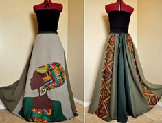 La Nubienne - Long Tribal Hippie skirt, African Patchwork Boho skirt, Ooak Appliqued Ethnic skirt, Can fit S to XL African Print Dresses, African Dresses For Women, African Wear, African Attire, African Women, African Prints, African Style, African Skirt, African Fabric