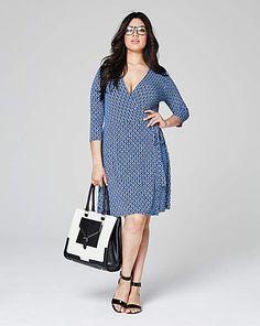 7b40e4681beab Blue Geo Print Deep Plunge Wrap Dress Plus Size Suits