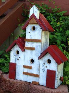 Birdhouse Handmade Large Bird House Post Mount Condo - Home Living - Garden Decorative Functional Birdhouses - Custom Built Fine Birdhouse