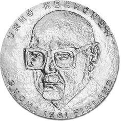Urho Kekkosen presidenttikauden 25-vuotisjuhlaraha Coins, Personalized Items, Gate Valve, Rooms