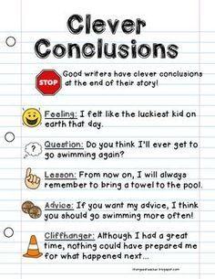 WRITING WORKSHOP ANCHOR CHART {CLEVER CONCLUSIONS} - http://TeachersPayTeachers.com