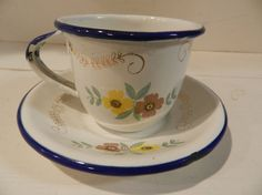 Vintage Enamelware Cup and Saucer  so adorable!