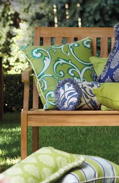 Fun Outdoor Pillows, love the colors