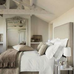 Love the neutral tones and bedding.