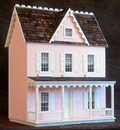 Vermont Jr. Dollhouse, Assembled and Finished, Pink, Ready to Decorate