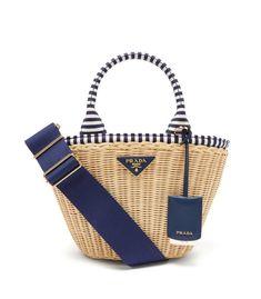 Prada Wicker And Canvas Basket Bag - Womens - Blue Multi Bag Prada, Prada Handbags, Purses And Handbags, Handbags Online, Sacs Design, Leather Factory, Striped Canvas, Blue Canvas, Basket Bag