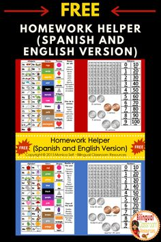 FREE!! Homework Helper (Spanish and English) is a great reference tool for students. Just print on card-stock, laminate and glue to your homework or parent communication folder. Click to get your freebie now! #Kindergarten#Preschool#Backtoschool#Organizationstudent#Elementary#Spanishresource#Folder#Bilingualresource#Free#Printable#Firstgrade#Englishlanguagearts#ELA#Homework#ESL#Literacy#Phonics#Math#Homeschool#1stGrade#Bilingualclassroom#DualLanguage Spanish Teaching Resources, Learning Resources, Classroom Language, Bilingual Classroom, Creative Teaching, Teaching Ideas, First Year Teachers, Parent Communication, Classroom Management