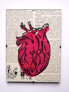 linocut The Anatomical Heart. Printed on a piece of paper from Soviet Encyclopedia for kids.