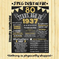 Gold 80th Birthday Chalkboard 1937 Poster 80 by ChalkingItUpBoards