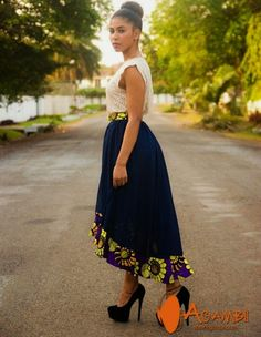 Cute Long Dress Transparent with African Material - The Click Styles