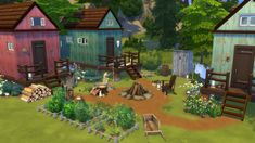 I created this off the grid, self-sustainable settlement : thesims Sims 4 Houses, Tiny Houses, Off Grid House, Sims 4 House Design, Sims 4 Gameplay, Sims Building, Sims Games, Off The Grid, Sims 4 Custom Content