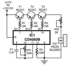 Telephone ring tone generator circuit, built with only several components. It generates simulated telephone ring tone and requires DC to DC voltage. Electronics Mini Projects, Hobby Electronics, Electronics Basics, Electronics Components, Electronic Circuit Design, Electronic Kits, Electronic Schematics, Electronic Engineering, Mechanical Engineering
