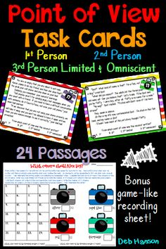 "Point of View Task Cards for upper elementary!  First Person, Second Person, Third person Limited, Third Person Omniscient.  Students read the passage and determine its point of view.  There are two recording sheet options... one traditional and one ""game-like""."
