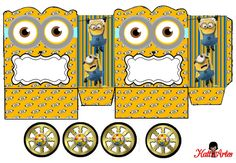 Minions with Googles: Princess Carriage Shaped Free Printable Box.