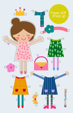 Paper doll dress up / Toy for kids / Gift for kids de KarenThaco en Etsy Cool Paper Crafts, Paper Crafts Origami, Fun Activities For Kids, Art Activities, Diy For Kids, Crafts For Kids, Paper Dolls Clothing, Creative Play, Felt Dolls