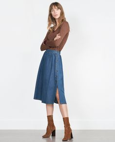 ZARA - WOMAN - FLOWING DENIM SKIRT