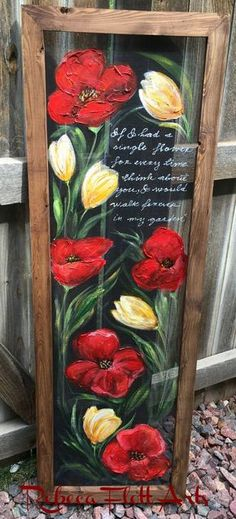 Increase Some Modern Day Design For Your Front Room With Art Deco Coffee Tables Red Poppies and Yellow Tulipscustomize Flowers On By Rebecaflottarts Painted Window Screens, Window Pane Art, Painted Window Art, Yellow Tulips, Red Poppies, Old Window Projects, Tole Painting, Stained Glass Art, Porch Decorating