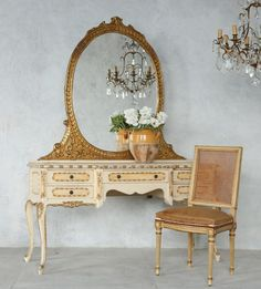One of a Kind Vintage Shabby French Louis XV Vanity Cream Gilt Mirror