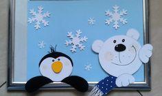 Fensterbild - 2 Fenstergucker- Winter - Weihnachten - Dekoration - Tonkarton!
