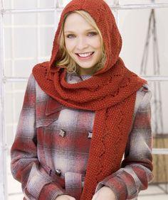 Comfy Hooded Scarf  #redheartyarn
