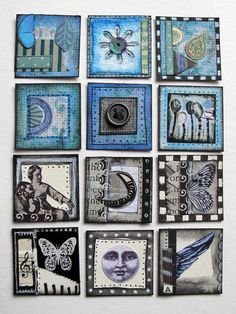 Blue & B Inchies by Phizzychick!, via Flickr - Love the idea of inchies with no particular theme other than the color blue (yes, it has been done, and so well that I am in awe)