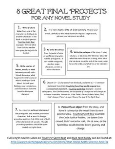 Free- 8 Great Final Projects for Any Novel Study 8 great ideas that can be used with any novel study at any grade level. Better than book reports, these ideas will have your students think more complexly about the characters, themes, nuances, and connecti 8th Grade Ela, 6th Grade Reading, Middle School Reading, Middle School English, 8th Grade English, Reading Response, Reading Skills, Teaching Reading, Reading Books