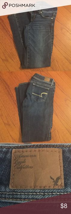 American Eagle Jeans Dark blue, slim boot cut, stretch material, length is short American Eagle Outfitters Jeans Boot Cut